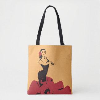 flamenco dancer in a spectacular pose tote bag