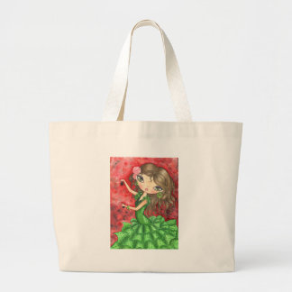 """""""Flamenco Dancer with Castanets"""" Large Tote Bag"""