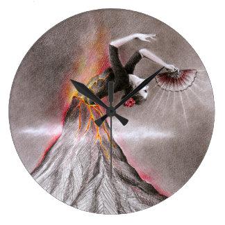 Flamenco dancing woman volcano surreal pencil art large clock