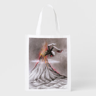 Flamenco dancing woman volcano surreal pencil art reusable grocery bag