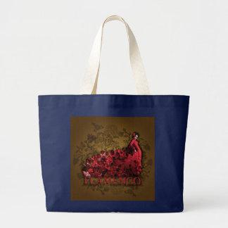 Flamenco Spain Dance Art red black brown Large Tote Bag