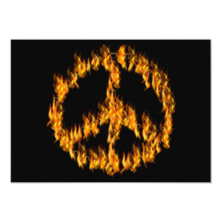 Flames and Hearts Peace Sign 5x7 Paper Invitation Card