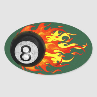 Flaming 8 Ball Oval Sticker