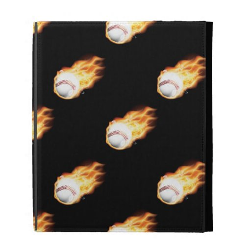 Flaming Baseball Pattern, Fire Balls iPad Folio Case