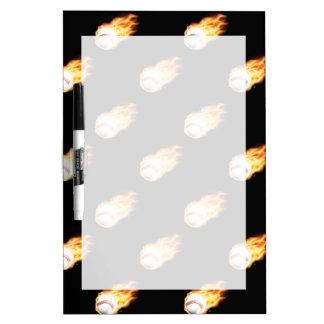 Flaming Baseball Pattern, Fire Balls Dry Erase Whiteboards