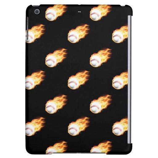 Flaming Baseball Pattern, Fire Balls iPad Air Cover