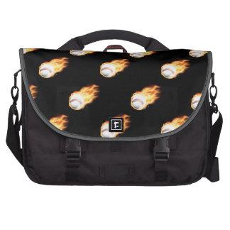 Flaming Baseball Pattern Fire Balls Laptop Commuter Bag