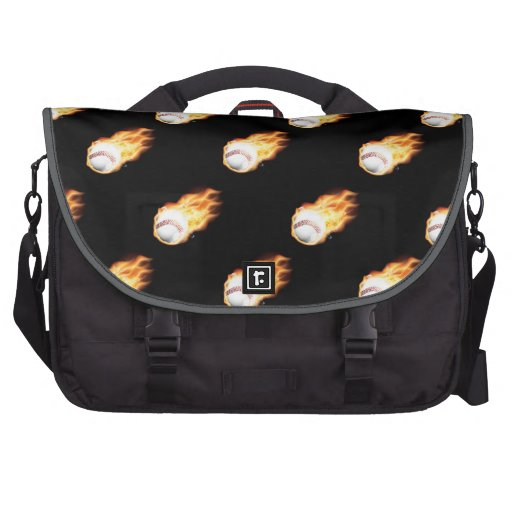 Flaming Baseball Pattern, Fire Balls Laptop Commuter Bag