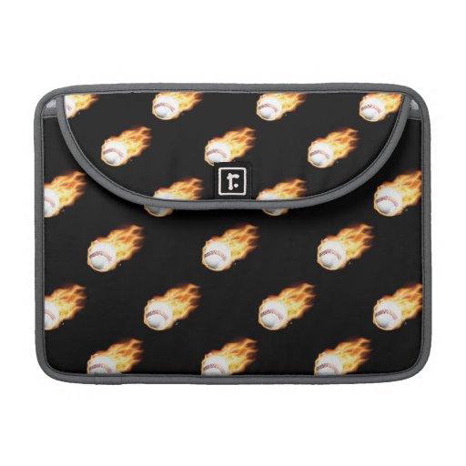 Flaming Baseball Pattern, Fire Balls MacBook Pro Sleeve