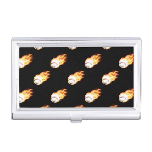 Flaming Baseball Pattern, Fire Balls Case For Business Cards
