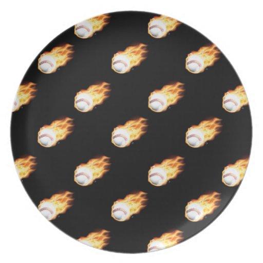 Flaming Baseball Pattern, Fire Balls Plate
