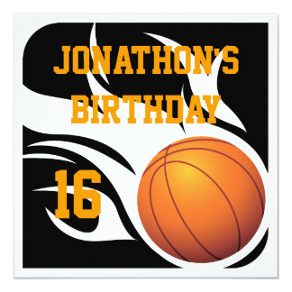 Flaming Basketball Birthday BW Party 13 Cm X 13 Cm Square Invitation Card
