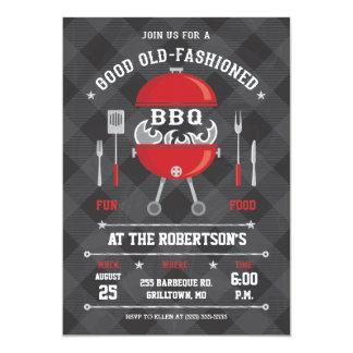 Flaming BBQ Grill Invitation, Chalkboard / Gingham 13 Cm X 18 Cm Invitation Card
