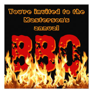 Flaming BBQ Invitation Custom Announcement
