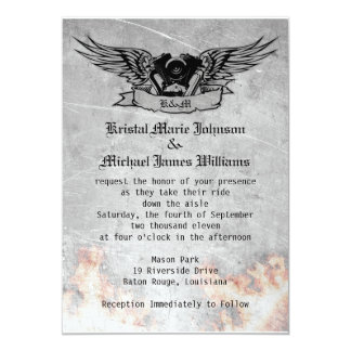Flaming Biker Wedding 13 Cm X 18 Cm Invitation Card
