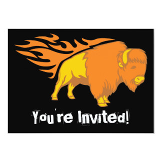 Flaming Bison #2 5x7 Paper Invitation Card