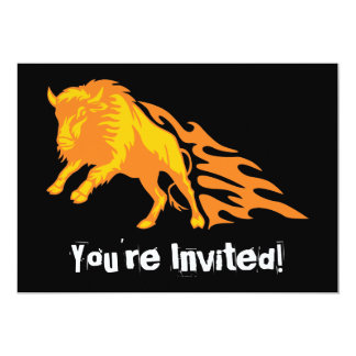 Flaming Bison #3 5x7 Paper Invitation Card