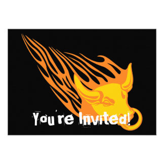 Flaming Bull #1 Personalized Invites