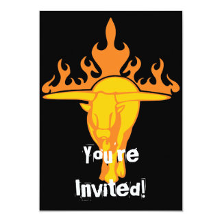 Flaming Bull #3 5x7 Paper Invitation Card