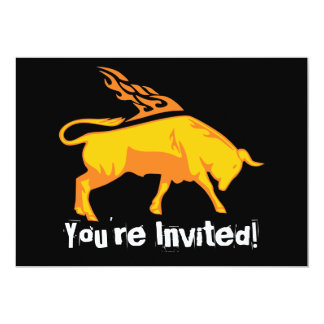 Flaming Bull #7 5x7 Paper Invitation Card