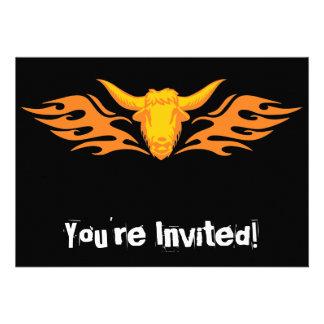 Flaming Bull #8 Custom Invitations