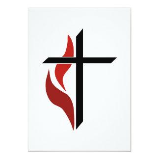 Flaming Cross 13 Cm X 18 Cm Invitation Card