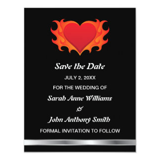 Flaming heart modern Save the date announcement