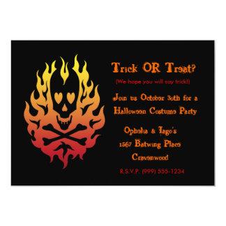 Flaming Heart  Skull Halloween Invitations