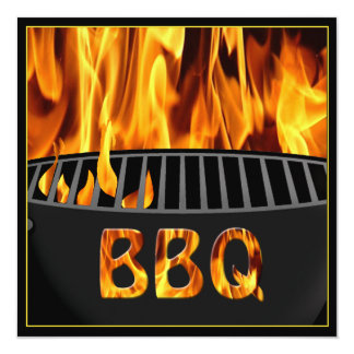 Flaming Hot BBQ Grill Party Invitation