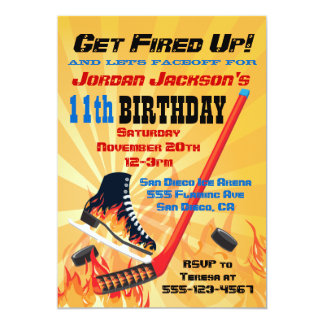 Flaming Ice Hockey Skating Party Invitations