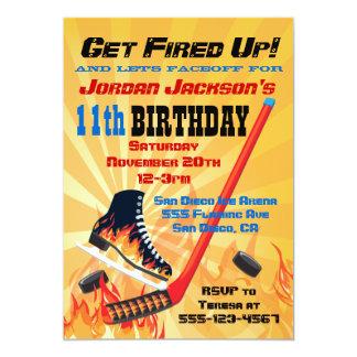 """Flaming Ice Hockey Skating Party Invitations 5"""" X 7"""" Invitation Card"""