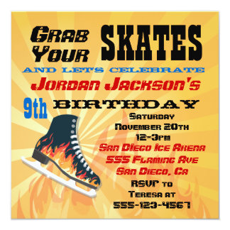 "Flaming Ice Skating Birthday Party Invitation 5.25"" Square Invitation Card"