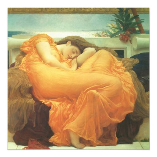 Flaming June by Leighton, Vintage Victorian Art Invite