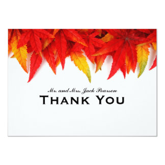 Flaming Leaves Autumn Personalized Thank You 11 Cm X 16 Cm Invitation Card