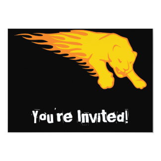 Flaming Lion #3 5x7 Paper Invitation Card