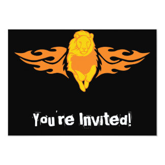 Flaming Lion #4 5x7 Paper Invitation Card