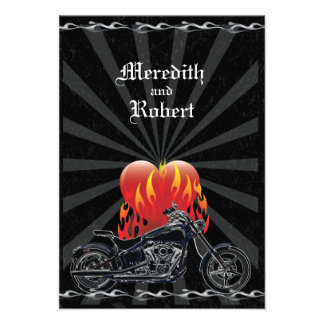 Flaming Love Biker Wedding Reply Card Personalized Announcement
