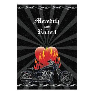 Flaming Love Biker Wedding Reply Invitations