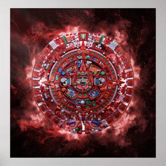 Flaming Mayan Calender Print