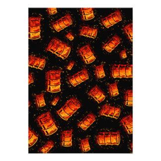 Flaming oil barrels invitations