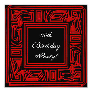 Flaming Red Custom Birthday Party Invitations