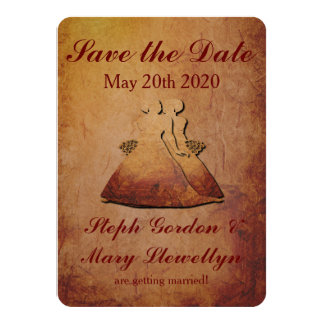 "Flaming Red Rustic Lesbian Save the Date Card 4.5"" X 6.25"" Invitation Card"
