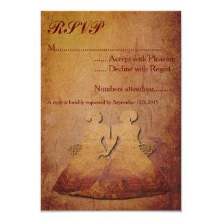 Flaming Red Rustic Lesbian Wedding RSVP Card