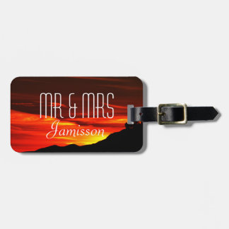 Flaming Red Sunset Personalized Mr and Mrs Custom Luggage Tag