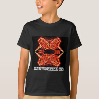 Flaming Rose Kaleidoscope FIre Love Romance T-Shirt