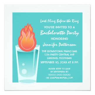 Flaming Shot Bachelorette Party Invite, Aqua Card