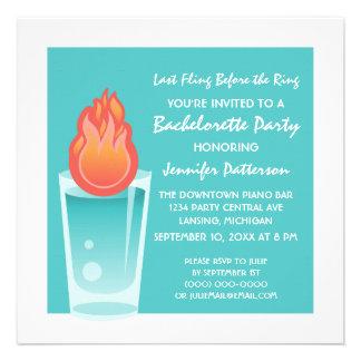Flaming Shot Bachelorette Party Invite Aqua