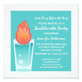 Flaming Shot Bachelorette Party Invite, Aqua