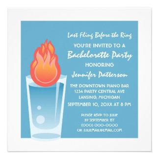 Flaming Shot Bachelorette Party Invite Blue
