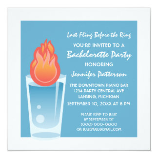 Flaming Shot Bachelorette Party Invite, Blue